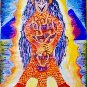 フィリピン人アーティストのセシルが描くアマビエ